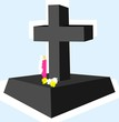 Illustration of grave with flower and candlelight