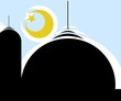 Illustration of muslin dome with moon and star