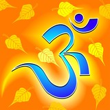 Illustration of Om in yellow frames