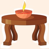 Illustration of stool with divine pot lamp