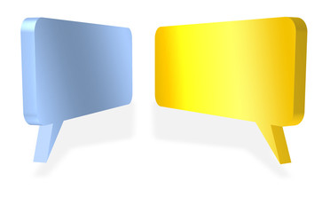 Blank speech bubbles facing