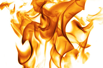 Dancing flames against a white background