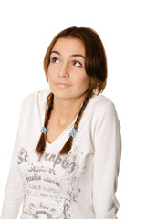 young woman with pigtails bewildered, isolated on white