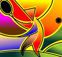 Digital painting of a symbolic man in pattern background. © vishnukumar