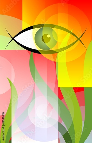 Digital painting of an eye above green plants