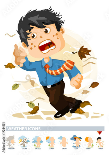 Windy or Autumn. Weather Icon