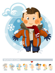 Snow on Winter. Weather Icon