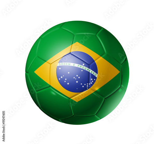 Soccer football ball with brazil flag