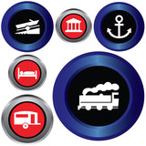 tourist locations icon set poster