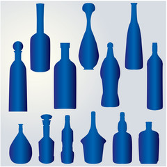 silhouette of bottles - blue VECTOR