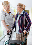 health care worker and senior patient poster