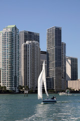 Sailing Yacht and Downtown Miami, Florida