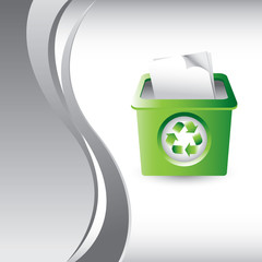 recycle bin vertical silver wave