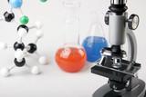 Microscope, flaska and molecular flasks poster
