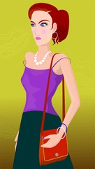 Illustration of Model with hand bag