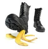 Banana peel and shoe