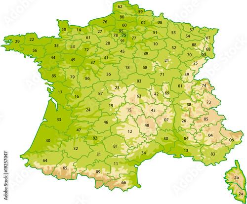 Carte de France avec les départements - Reliefs