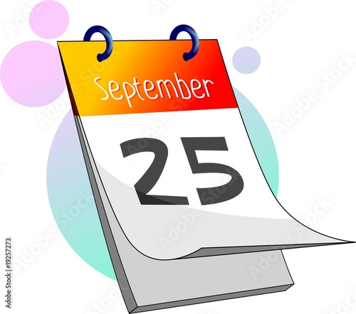 Illustration of calendar in colour background