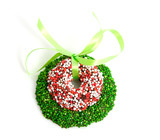 Green and colored speckled christmas candy wreath poster