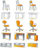 Home furniture - chairs, tables, desks, cupboards poster