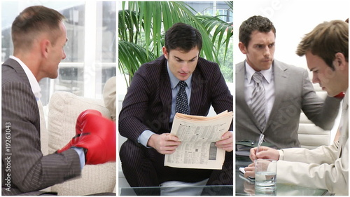 Businessmen relaxing at work