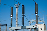 view to high-voltage substation poster