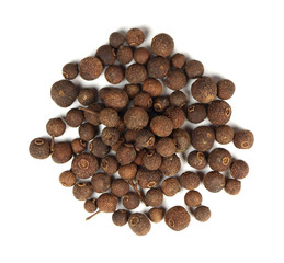 Pile of allspice on white background