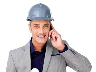 Charismatic male architect on phone