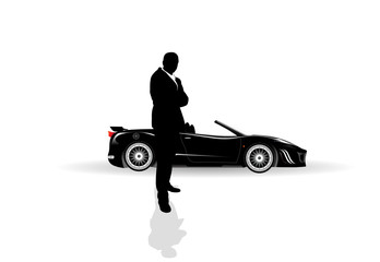 young businessman and a black car