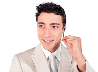 Charming customer service representative using headset