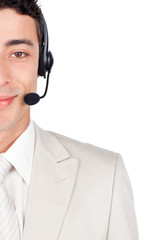 Assertive businessman with headset on