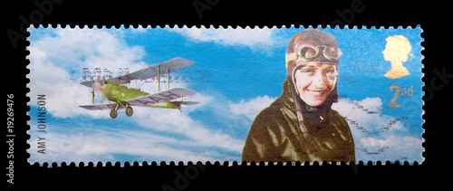 mail stamp featuring aviation pioneer amy johnson