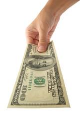 Feminine hand with dollar