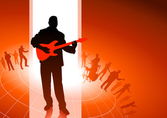 Guitar player with Musical Group Background