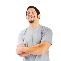 Confident person laughing with eyes closed