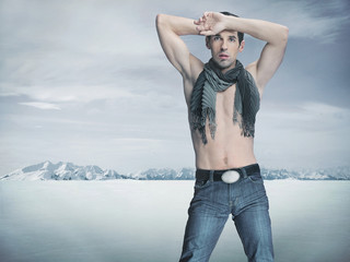 Winter style fashion shot of an attractive muscular guy