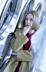 Woman at laundromat