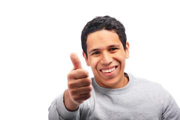 Hispanic young man giving thumbs up