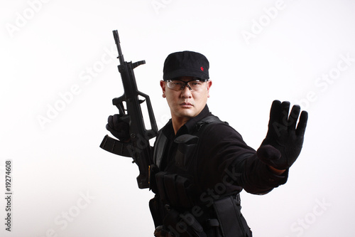 Chinese soldier with modern Chinese rifle