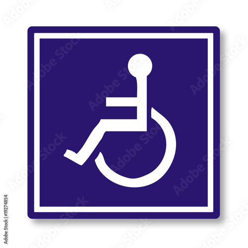 person on wheelchair label & button