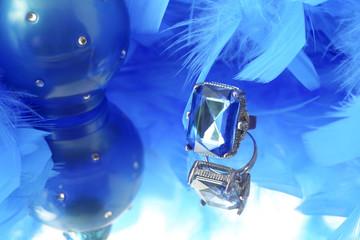 glamorous blue diamond and feather boa