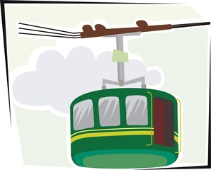 Illustration of a  cable car with sky and clouds