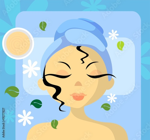 Illustration of Face massaging picture