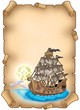 Old scroll with mysterious ship