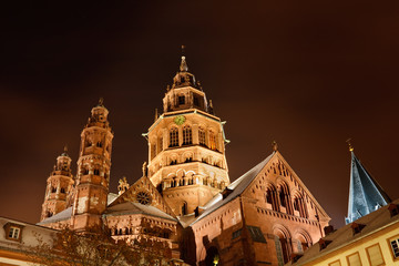 Mainz Cathedral (Mainzer Dom) on a Cold Winter's Night