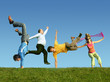 Many jumping people on the grass, collage