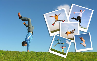 Jumping man in grass and photographs of the people, collage