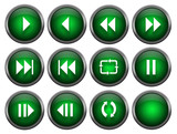 Eleven music buttons and a blank