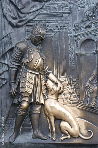 Staande foto Praag detail from relief on the charles bridge - prague