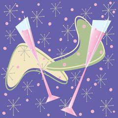 Fun Retro Pink Champagne Toast